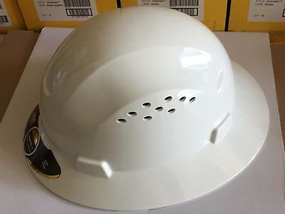 HDPE Natural White Full Brim Hard Hat with Fas-trac Suspension