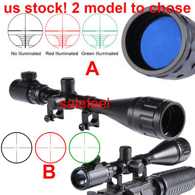 USA 6-24x50AOEG Red/Green Mil Dot Rangefinder Scope Sight 20mm Mounts For Rifle