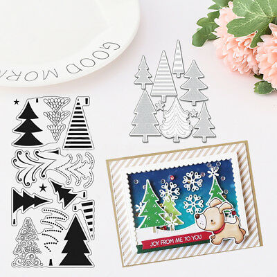 Christmas Tree DIY Card Paper Craft Cutting Dies Silicone Stamp Template Latest