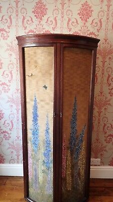Antique Hand Painted Floral Screened Corner Wardrobe Vintage Rare Chic Historic
