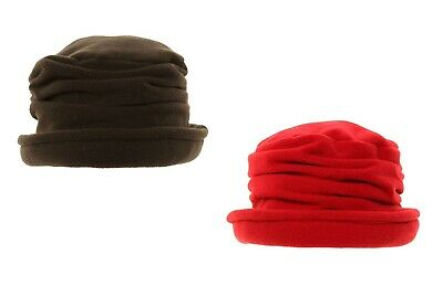 New Ladies Womens Fleece Winter Cloche Style Hat With Turn Up Brim Black Or Red