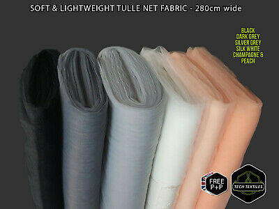 280cm wide - SOFT TULLE NET MESH FABRIC MATERIAL - WEDDING DRESSES - 4 COLOURS