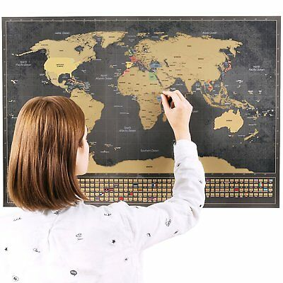 Scratch off World travel Map with Flags XXL + BONUS A4 Size Map of the UK gift