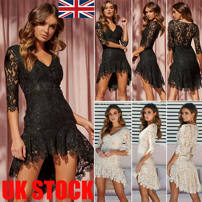 UK Boho Womens Long Sleeve Lace Beach Wear Sundress Ladies Cover UP Mini Dress