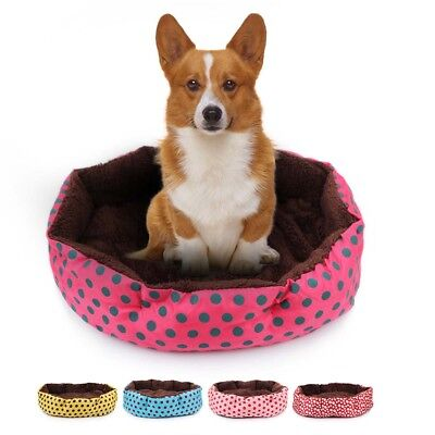 Pet Bed Soft Polka Dots Print Round Cushion Bed for Cats Puppy Small Dogs