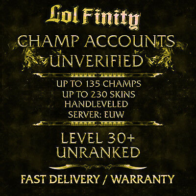 League of Legends Account LOL CHAMPS + SKINS Smurf Acc EUW Level 30+ Unranked