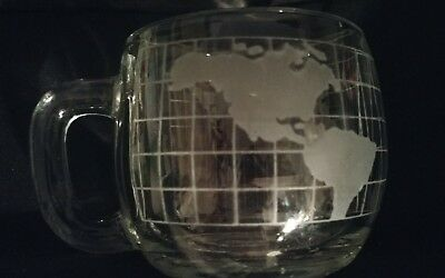 Vintage World/Globe Mug Clear/Frosted Glass, Promo, Excellent Condition