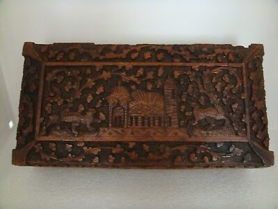 Antique Egyptian Wood Hand Carved Box Great Detail