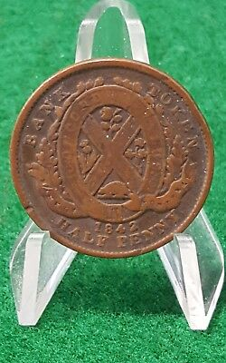 1842 Copper Province Of Canada, Bank Of Montreal Half Penny Bank Token.1/2 Cent.