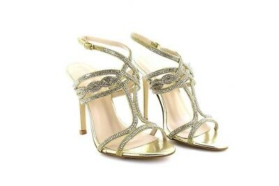 Ladies Diamante Mid Heel Party Prom Bridal Evening Sandals Shoes Gold PU