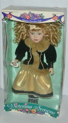 Victorian Seasons Collection Genuine Porcelain Doll Brass Key stand 17''