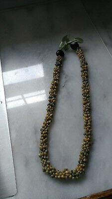 Lei style Necklace - Tiny Shells with Ribbon Tie - from Hawaii