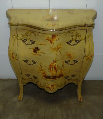 Vintage Italian Painted Bombe Chest Commode Small 3 Drawer Dresser End Table