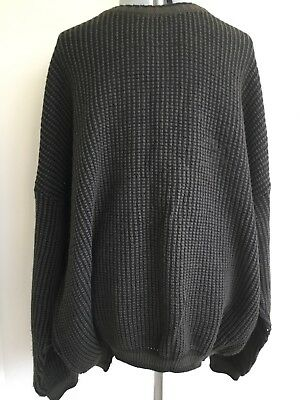 Sovrano Size 26 Green Black Knited Pure New Wool Vintage Jumper