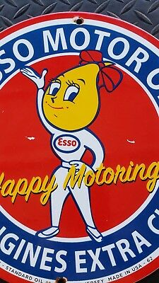 "Vintage Esso Oil Drop Girl Happy Motoring Porcelain Pump Plate Sign ""usa 62"" Can"