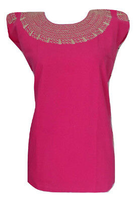 Womens Medium Embroidered Pink Mexican Blouse Handmade Bohemian Peasant Fiesta