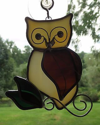 TIFFANY Collectors Society WISE OWL Stained Glass SUNCATCHER bird ornament 1990