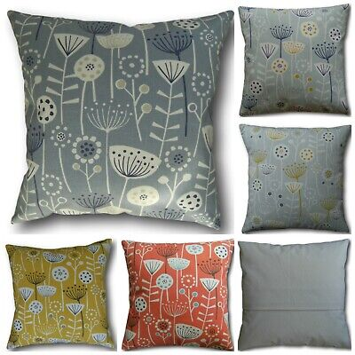 Cushion Covers Bergen Blue, Ochre Yellow, Duck Egg, Orange or Grey Retro Design