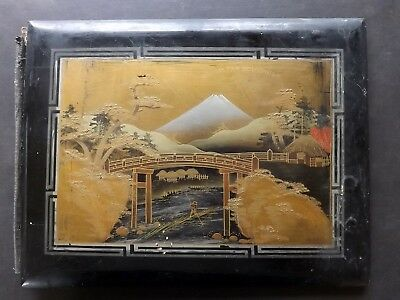 Japanese Lacquered Album C1900 Front Board Only. Mount Fuji