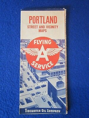 1960 Map Flying A Tidewater Oil Company Logo Portland Vancouver Old Travel Guide