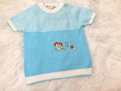 Vintage Baby Sweater Size 2T Boys Girls Italy Snail Mushrooms Short Sleeve   A