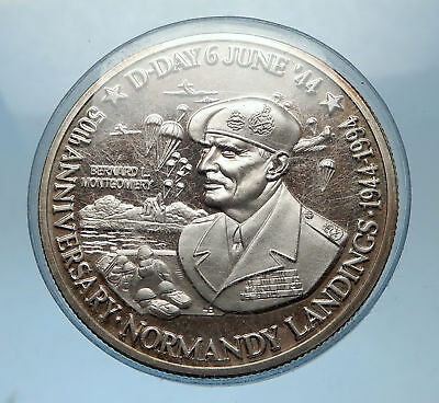 1994 TURKS & CAICOS General Montgomery WWII D-Day Silver 20 Crowns Coin i68326