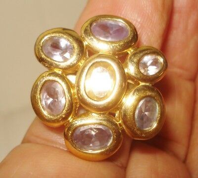 Vintage  Gold Plate Ring Size 7.25 Amethyst Stones Francesca Visconti Nr