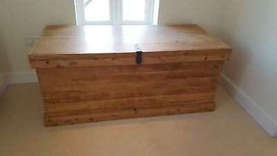 Large Vintage Wooden Chest Trunk. 158cm wide. A stylish way to store things.