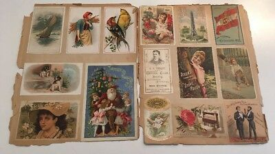 A Pair Of Antique Victorian Scrapbook Two Sided Pages Of Trade Cards Santa Claus