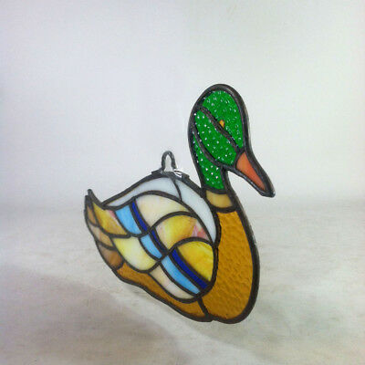 "Vintage MALLARD DUCK BIRD 12"" Handmade Stained Glass Hanging Suncatcher Panel"