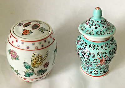 Miniature 2 1/2 inch ginger jars with lids, hand painted china 1 turquoise, 1 wh