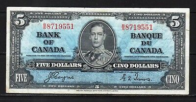 "Canada-1937 Bank of Canada 5 Dollars note P60c/BC-23c /aVF ""KIng George VI"""