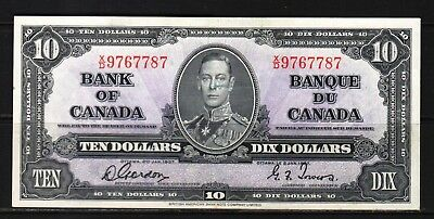 "Canada -1937 Bank of Canada 10 Dollar note P61b/BC-24b VF+/aXF ""King George VI"""