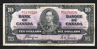 "Canada -1937 Bank of Canada 10 Dollar note P61c/BC-24c F+/aVF ""King George VI"""