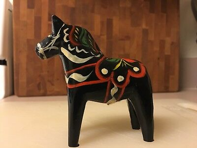 Dala Nils Olsson Carved Painted Folk Art Black Horse   With Label A++condition