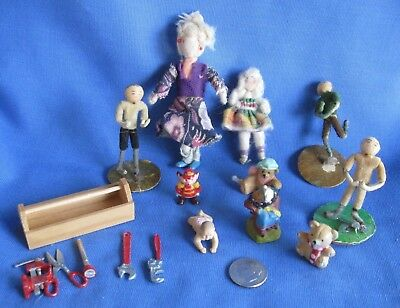 11 Vintage Dollhouse Items Inc. Tool Box, and English Made Little Girl