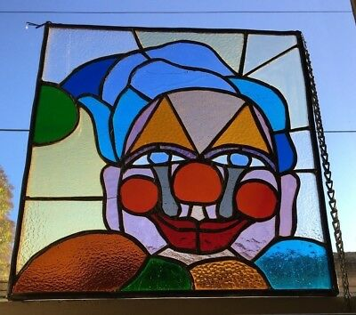 "Modern Art Stained Leaded Glass Window Panel Hanger Smiling Clown 14"" X 16"" VTG"