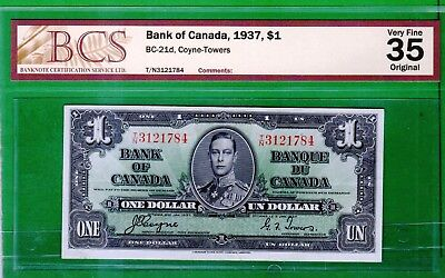 Canada - 1937 Bank of Canada 1 Dollar Banknote BC-21d  PCS 35  Very Fine