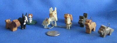 10 Vintage Very Miniature Carved Dogs Inc. Carved Celluloid Westie+ Puppies