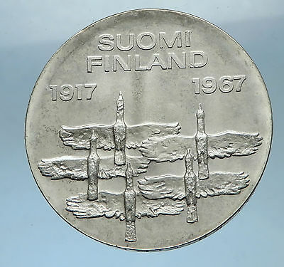 1967 FINLAND Large 3.5cm SILVER 50th Year of Independence 10 Markkaa Coin i68337