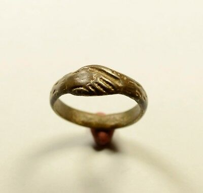 Rare Medieval Clasped Hands Ring-Wedding Ring - WEARABLE ARTIFACT