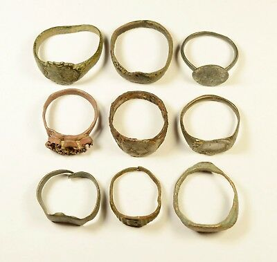 Large Size - Mixed Lot Of 9 Roman / Post Medieval Rings - Great Artifacts