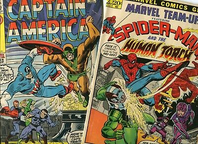 2-Issue Lot Marvel Team-Up #2 (1972) & Capt America #127 (1970) Low Grade, Cheap