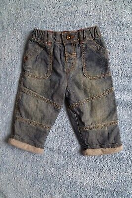 Baby clothes BOY 6-9m NEW! M&S faded blue denim jeans/trousers lined SEE SHOP!