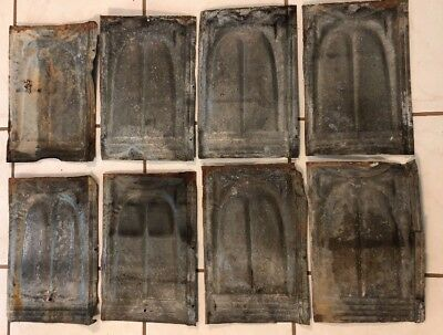 "LOT of 8 Antique Tin Ceiling Tile Panel 9""x14"" Architectural Reclaimed Salvage"