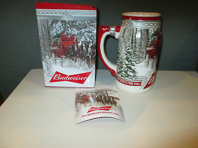 "2017 Budweiser Holiday Stein Christmas ""Holiday Retreat"" Beer Mug W/Box & COA"