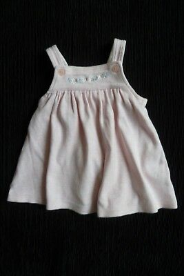 Baby clothes GIRL 0-3m soft cotton pink pinafore dress,embroidered SEE SHOP!