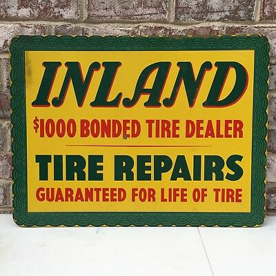 Vintage Masonite Inland Tire Sign Great Condtion Tires Original