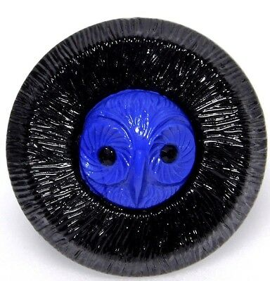 Antique VINTAGE Czech GLASS Owl Button Blue with Sparkle Paste Eyes 1 1/16 #87