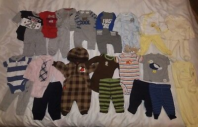 Baby Boy Newborn Lot Of Clothes Outfits Sleepers Onsies & More or Reborn Doll